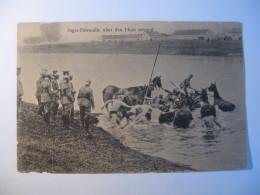CARTOLINA  JAGER PATROUILLE UBER DEN FLUSS SETZEND  SERIE DAS DEUTICHE HERR  - B 2422 - Guerra 1914-18