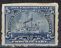 Sello PROPRIETARY U.S.A. 5/8 Ctvos 1898. Ship º - Revenues