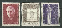 POLAND Oblitéré 1633-1635 Marie Sklodowska Curie Prix Nobel - 1944-.... Republik