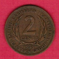BRITISH CARIBBEAN TERRITORIES   2 CENTS 1955 (KM # 3) - Caraïbes Orientales (Etats Des)