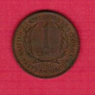 BRITISH CARIBBEAN TERRITORIES   1 CENT 1960 (KM # 2) - East Caribbean States