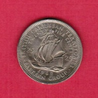BRITISH CARIBBEAN TERRITORIES   25 CENTS 1962 (KM # 6) - East Caribbean States