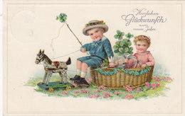 Knabe & Mädchen Mit Spielpferdchen - Prägelitho - 1917      (A-44-110406) - Anno Nuovo