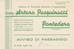 6833.   Pasquinucci - Pontedera - 1951 - Fabbrica Terrecotte Artistiche E Commerciali Per Foiano Chiana - 1946-.. République