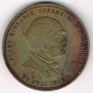 Old Medal 1898 Otto Fürst Von Bismarck's Death At 30 July 1898. German Empire, Reich, Iron Chancellor. - Royal/Of Nobility