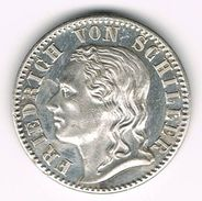 Very Rare Silver Medal Otto Von Bismarck And Friedrich Von Schiller. German Empire, Reich, Iron Chancellor. - Royaux/De Noblesse