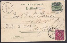 "ALLEMAGNE - 1897 - Correspondance De Berlin Pour New York Sur CPA "" Gruss Aus Berlin Bei Nacht "" Avec Taxe De 3 Cents... - Briefe U. Dokumente"
