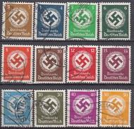 DR  Dienst 132-143, Gestempelt, 1934 - Dienstzegels