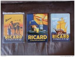 """Lot De 3 Plaques En Métal  """"RICARD"""". - Plaques Publicitaires"""