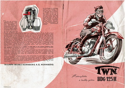 Feuillet Publicitaire TRIUMPH TWN BDG 125H - 2 Scans - Motos