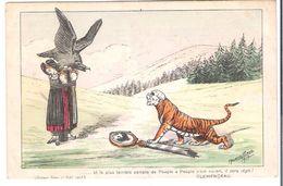 CPA WW1  Illustrateur Maurice Picaud Discours Au Sénat De Clémenceau 17 Sept 1918 Alsaciennes Et Poteau Frontière - War 1914-18