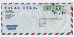 1971 Air Mail  COVER ECUADOR Stamps 2 X  S/1.70 1970 POSTAL OVPT On 2s   To GB - Ecuador