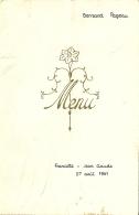 Menu Intérieur Calygraphie / Mariage Francette Jean-Claude / 27/08/1961 - Menus