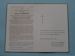 DP Alfons VERBEKE ( Henriette BEYENS ) St. Pauwels (O-VL.) 9 Juni 1890 - Deurne 30 Aug 1959 ( Zie Foto's ) ! - Avvisi Di Necrologio