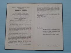 DP Anna DE RIDDER ( Constant Verboven ) Borsbeek 25 Okt 1872 - 21 Sept 1959 ( Zie Foto's ) ! - Avvisi Di Necrologio