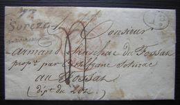 1832 Sorèze Marque 77 Sorèze Et Cachet Rouge, Marque Ovale I.D - Postmark Collection (Covers)