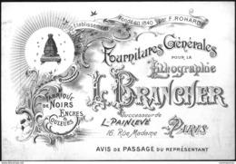 Carte De Visite Commerciale. Paris (6e), Maison Brancher, Fournitures Pour La Lithographie - Imprimerie & Papeterie