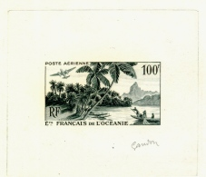 FRENCH OCEANIA-AIRPLANE-BOATS-PALM TREES-ARTIST SIGNED PROOF-GANDON SIGNED-SCARCE-D1-48 - Oceanië (1892-1958)