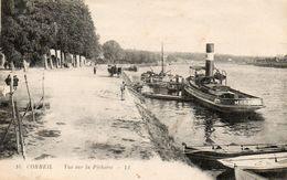 CPA CORBEIL. Le Pousseur Mésange, Péniche, Attelage. Vue Sur La Pécherie. - Hausboote