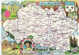 CPM - Carte Du Département De L'ALLIER - Cartes Géographiques