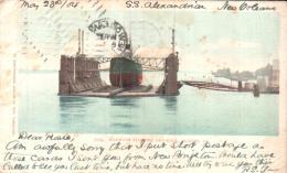 MAMMOTH FLOATING DRY DOCK ALGIERS LOUISIANNE LE SS ALEXANDRIA A NEW ORLEANS CARTE PRECURSEUR CIRCULEE 1904 - Etats-Unis