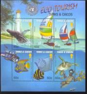 MINT NEVER HINGED MINI SHEET OF FISH-MARINE LIFE  #  M-972-1  ( TUKS & CAICOS    1372 - Vie Marine