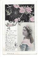 16944 - Belle Femme Et Toile Araignée Fleurie Serie H N° 454 Envoyée 1900 - Femmes