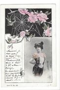 16945 - Belle Femme Et Toile Araignée Fleurie Serie H N° 459 Envoyée 1900 - Femmes