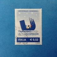 2003 ITALIA FRANCOBOLLO USATO STAMP USED - UNIVERSIADI INVERNALI TARVISIO - - 6. 1946-.. Repubblica
