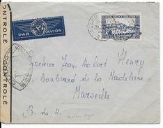 ALGERIE - 1942 - SEUL Sur LETTRE Par AVION De ALGER Avec CENSURE => MARSEILLE - Algérie (1924-1962)