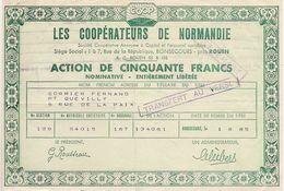 ACTION DE 50 NOUVEAUX FRANCS DES COOPERATEURS DE NORMANDIE à BLOSSEVILLE-BONSECOURS Près ROUEN * 1965 * - Shareholdings
