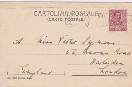 Italy-1905 10 C Brown On Genoa (King Victor Emmanuel Flag Postmark) Postcard Cover To London, Great Britain - Interi Postali