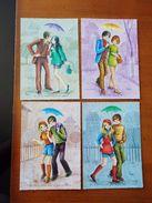 LOT DE 4 CARTES POSTALES NEUVES . COUPLES SOUS LA PLUIE . PARAPLUIES . ILLUSTRATEUR LUPE - Illustrators & Photographers