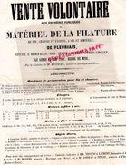 85- FLEURIAIS MORTAGNE SUR SEVRE PRES CHOLET- AFFICHE VOLONTAIRE ENCHERES MATERIEL FILATURE LIN CHANVRE-M. MEZIERE -1863 - Afiches