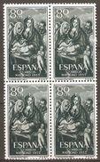 1955 NAVIDAD EDIFIL 1184 (**) EN BLOQUE DE 4 - 1951-60 Nuevos & Fijasellos