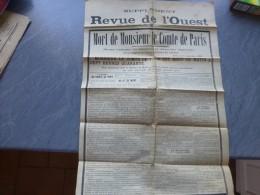 Revue De L'Ouest, Supplément 8 Septembre 1894 MORT Du Comte De Paris, AFFICHE ; Ref 537 G 21 - Journaux - Quotidiens