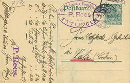 Ettlingen, Postkarte Von P. Rees, Cigarren-Spezial- U. Versandgeschäft, Keine AK, O 1914 (19396) - Ettlingen