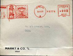 22975 Norway   Red Meter/freistempel/ema/ Oslo 1939 Primus Lampe, Circuled Cover - Norvège