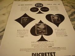ANCIENNE PUBLICITE SERIE MUSICALE TSF/PHONO DUCRETET 1932 - Musique & Instruments