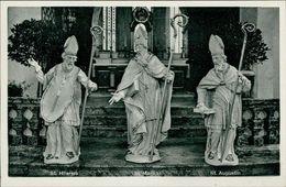 AK Ettlingen, St. Martinskirche, Heiligenfiguren, St. Hilarius, St. Martin, St. Augustin, Ca. 1950er Jahre (19401) - Ettlingen