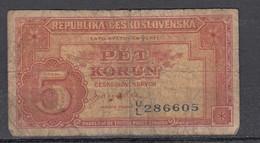Tschechoslowakei /Ceskoslovenska Banknote 5 Koruna Ohne Jahresangabe - Tschechoslowakei