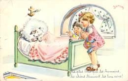 Illustrateur - Janser - Chien Dans Le Lit Des Enfants - Janser