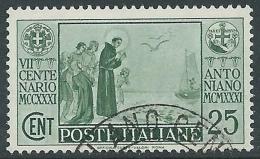 1931 REGNO USATO S. ANTONIO 25 CENT - R8-9 - Usati