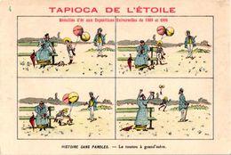 19 Cartes Litho Chromos TRES ANCIENS C1890, Comme Bandes Dessinés, Publicitaires Tapioca; Imprimeur COURBE ROUZET - Screen Printing & Direct Lithography