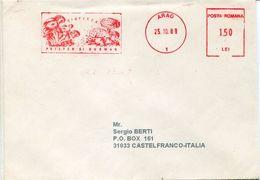 23022 Romania Red Meter/freistempel/ema/ Arad 1989 Mushrooms, Pilze, Champignons - Marcofilia - EMA ( Maquina De Huellas A Franquear)