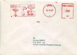 23024 Romania Red Meter/freistempel/ema/ Arad 1989 Mushrooms, Pilze, Champignons - Marcophilie - EMA (Empreintes Machines)