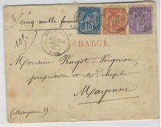 Type Sage, Superbe Lettre Chargée Avec 5 Fr Sage à Wormhout ( Nord ) - Marcophilie (Lettres)