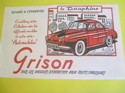 Buvard Publicitaire/GRISON/Entretien Chaussures/Automobiles/Dauphine Renault/Années 50                            BUV285 - Chaussures
