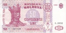 BILLETE DE MOLDAVIA DE 50 LEI DEL AÑO 1992 EN CALIDAD EBC (XF) (BANKNOTE) RARO - Moldova