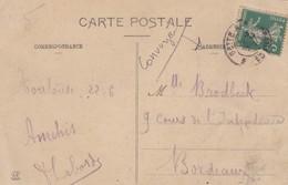 FRANCE - SUR CP DE TOULOUSE 22.06.1915 CONVOYEUR CETTE A BORDEAUX  / 3 - Spoorwegpost